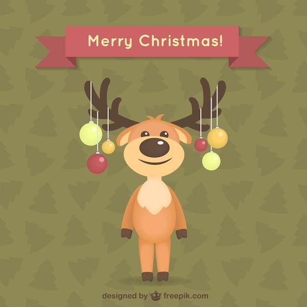 Tarjeta de navidad con renos vector gratuito