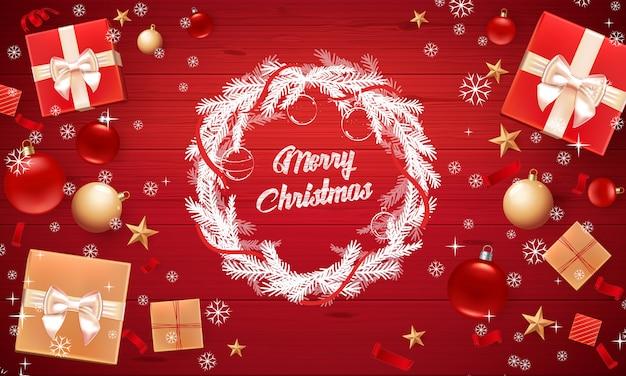 Tarjeta de navidad con saludo feliz navidad Vector Premium