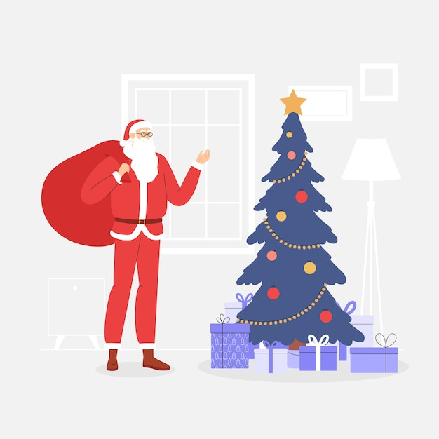 Tarjeta de navidad con santa claus. salón festivo con árbol de navidad y montaña de regalos. Vector Premium