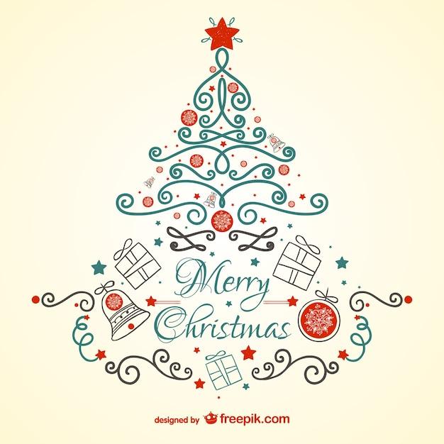 Tarjeta De Navidad Vintage Con Arbol Descargar Vectores Gratis - Vintage-navidad