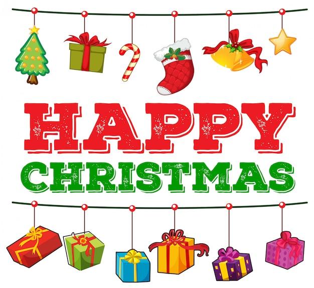 Tarjeta navideña con cajas presentes. vector gratuito