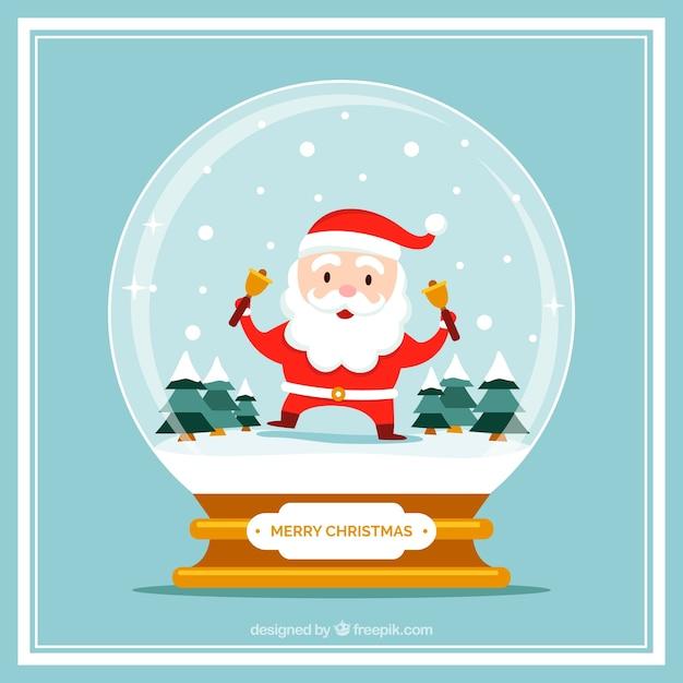 tarjeta navidea de bola de nieve con simptico santa claus vector gratis