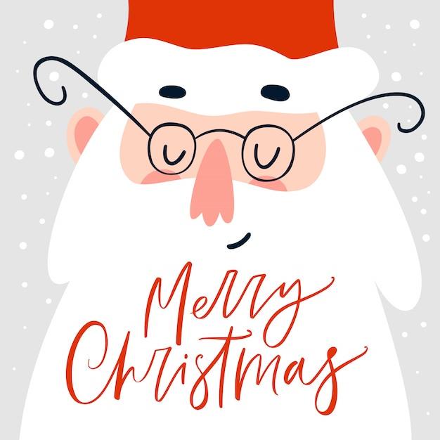 Tarjeta navideña con santa claus y caligrafía manuscrita Vector Premium
