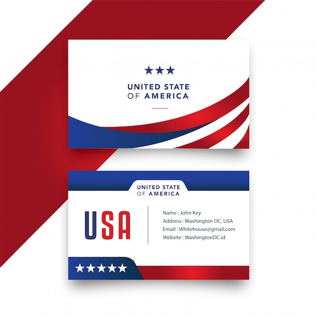 Tarjeta de negocios estadounidense Vector Premium