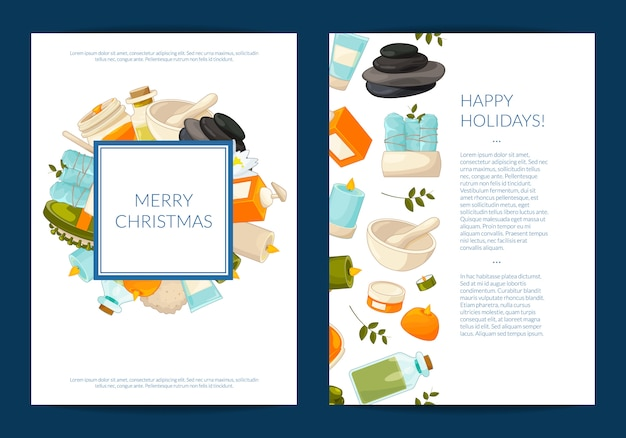 Tarjeta o folleto con elementos de belleza y spa de dibujos animados Vector Premium