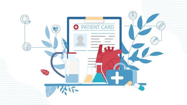 Tarjeta de paciente, estuche de medicación, frasco de prueba y frascos Vector Premium