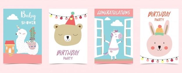 Tarjeta pastel con unicornio, estrella, oso, llama, conejo Vector Premium