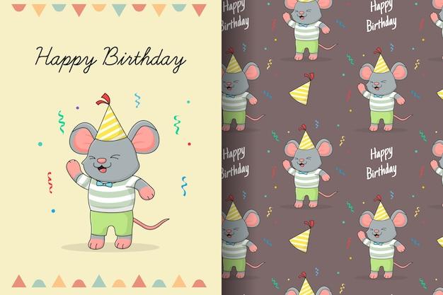 Tarjeta y patrones sin fisuras lindo feliz cumpleaños ratón Vector Premium
