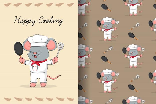 Tarjeta y patrones sin fisuras de lindo ratón chef Vector Premium