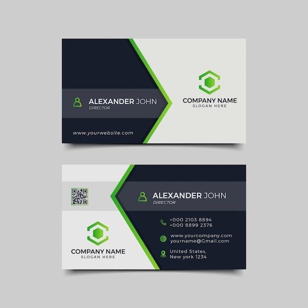 Tarjeta personal verde negro Vector Premium