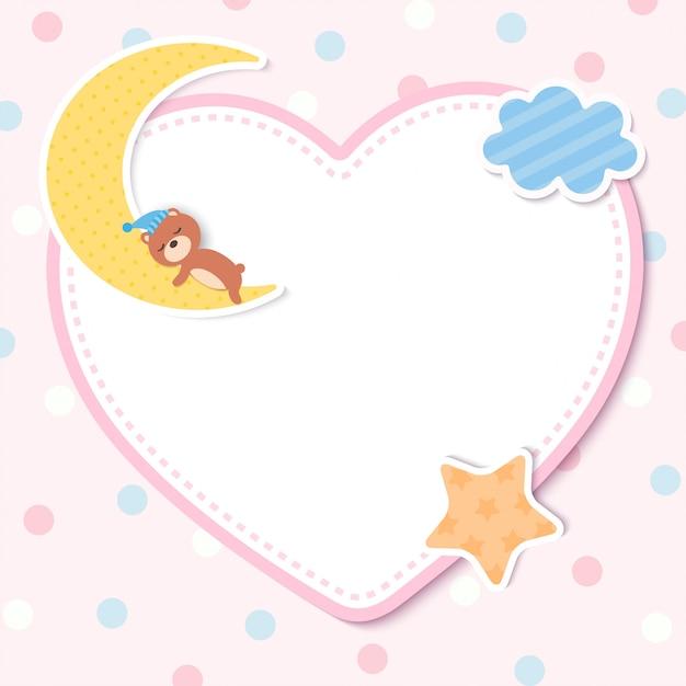 Tarjeta de plantilla de baby shower con oso en la luna Vector Premium