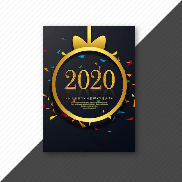 Tarjeta de plantilla creativa 2020 feliz año nuevo vector gratuito