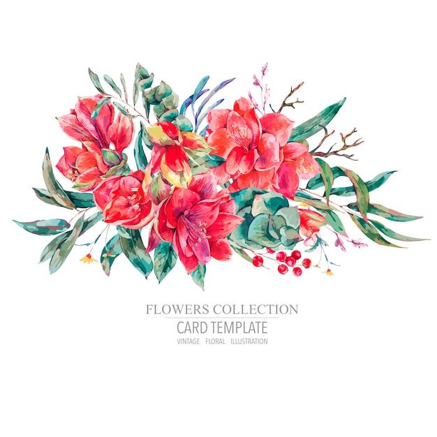Tarjeta de plantilla floral de vector de flores rojas amaryllis Vector Premium
