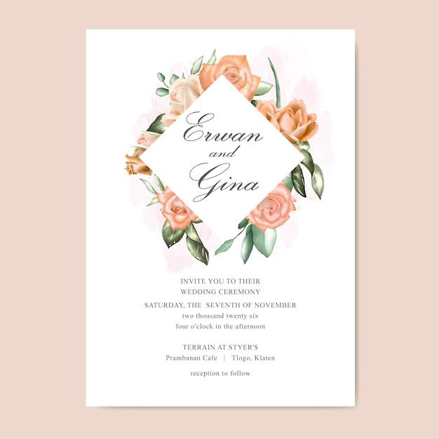 Tarjeta de plantilla de invitación de boda con acuarela floral y hojas Vector Premium