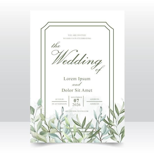 Tarjeta de plantilla de invitación de boda acuarela Vector Premium