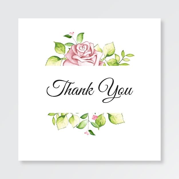 Tarjeta de plantilla minimalista gracias con acuarela floral Vector Premium