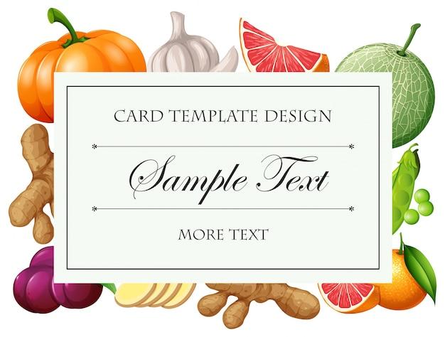Tarjeta de plantilla con verduras y frutas ilustración | Descargar ...