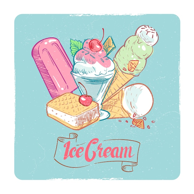 Tarjeta de postre vintage de banner de helado de grunge Vector Premium