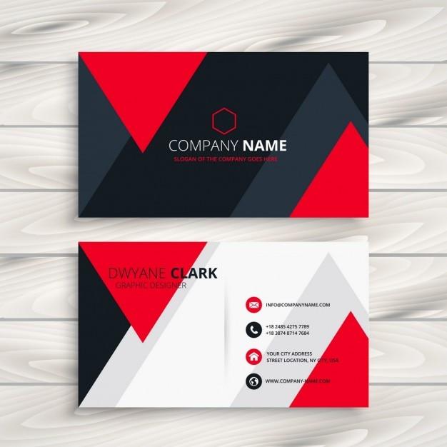 tarjeta de presentación corporativa con triángulos rojos descargar