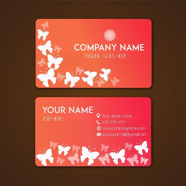 tarjeta de presentaci u00f3n con dise u00f1o de mariposas
