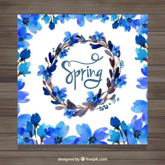 Tarjeta De Primavera De Flores Azules De Acuarela Descargar