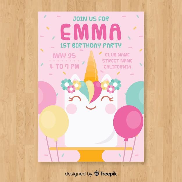 Tarjeta de primer cumpleaños vector gratuito