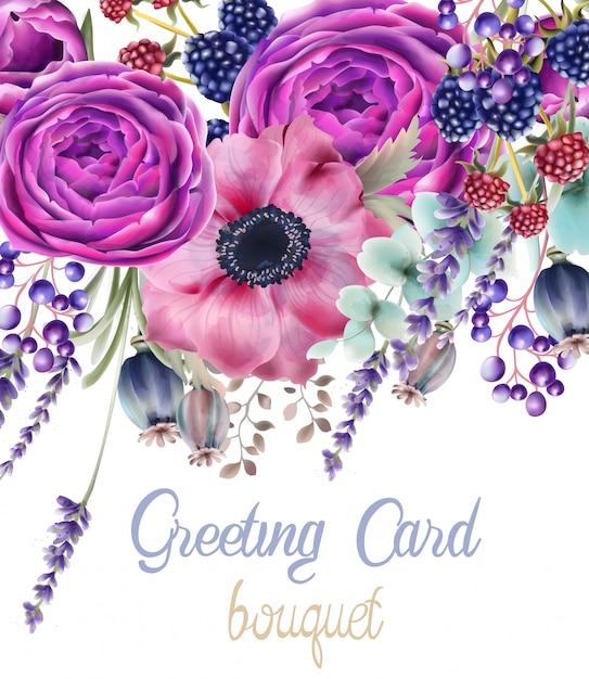 Tarjeta de ramo de flores rosas de otoño Vector Premium