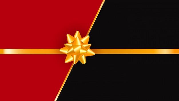 Tarjeta de regalo con lazo dorado y cinta de regalo, tarjeta de felicitación de navidad o año nuevo de lujo, invitación de boda Vector Premium