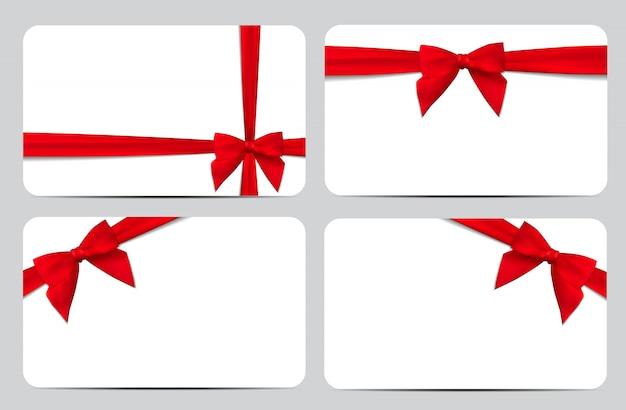 Tarjeta de regalo con lazo rojo y lazo. ilustración Vector Premium