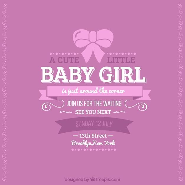 Quotes To Write In Books For Baby: Tarjeta Retro De Bienvenida Del Bebé Para Chica