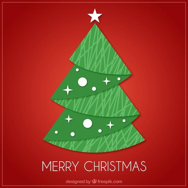 Tarjeta roja de rbol de navidad en dise o plano - Arbol de navidad diseno ...