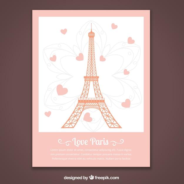 Tarjeta romántica de parís vector gratuito