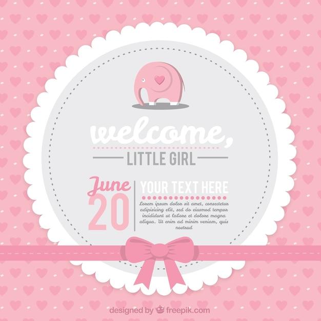 Tarjeta rosa de bienvenida del bebé vector gratuito