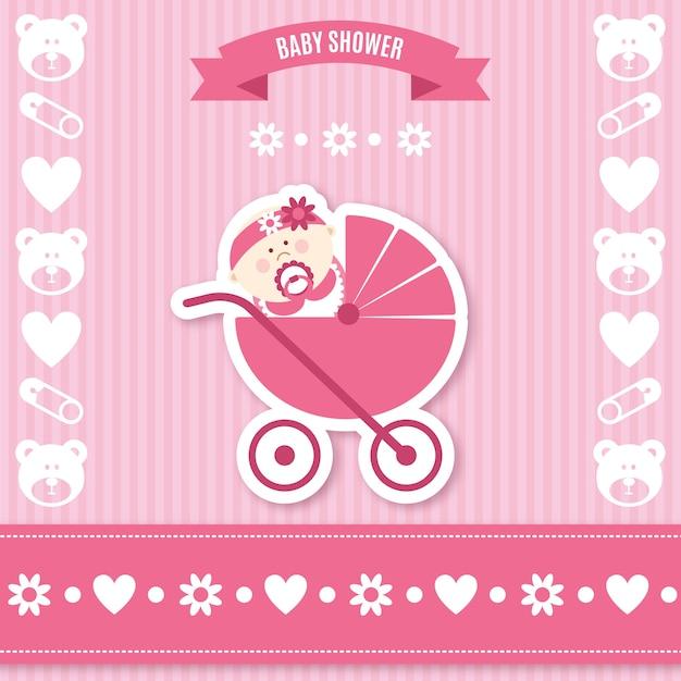 Tarjeta rosa de bienvenida del bebé | Descargar Vectores ...