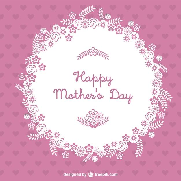 Tarjeta rosa del día de la madre vector gratuito
