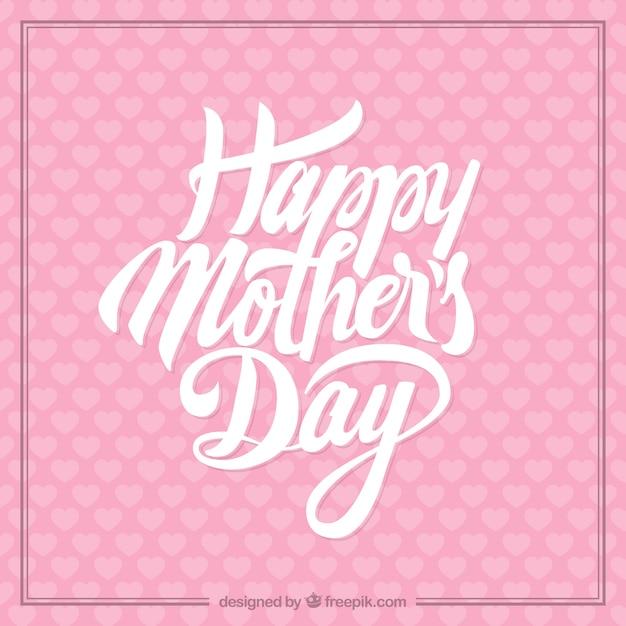 Tarjeta rosada del día de la madre vector gratuito