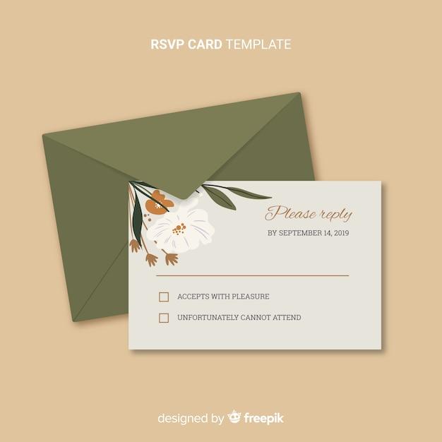 Tarjeta rsvp boda vector gratuito