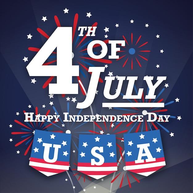 Tarjeta de saludos estadounidense del 4 de julio con noche de fuegos artificiales Vector Premium