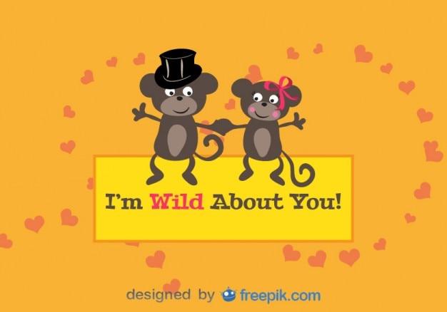 Tarjeta De San Valentin Con Pareja De Monos Enamorados Descargar