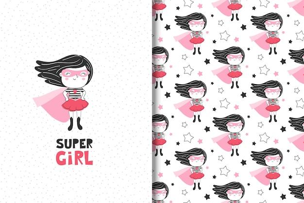 Tarjeta de superhéroe niña linda y patrones sin fisuras Vector Premium