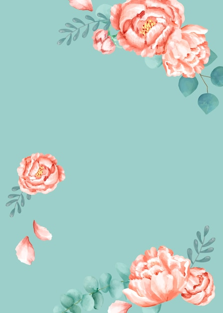 Tarjeta temática floral con fondo verde vector gratuito