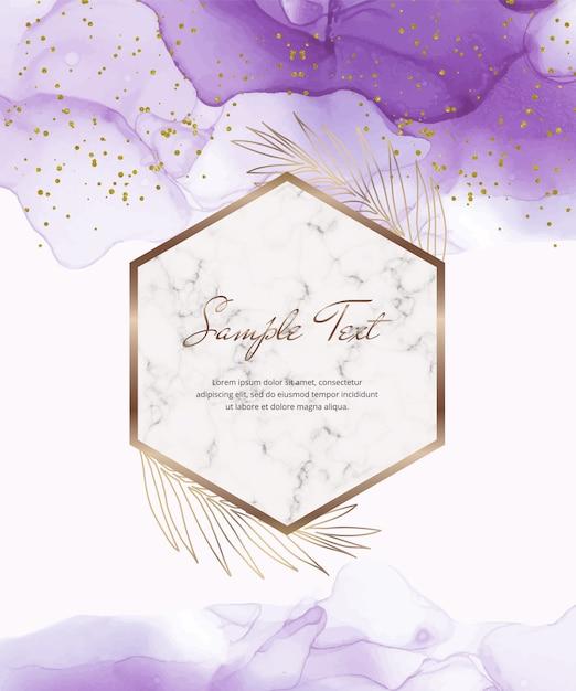 Tarjeta de tinta de alcohol púrpura con marcos geométricos de mármol y hojas, confeti. Vector Premium