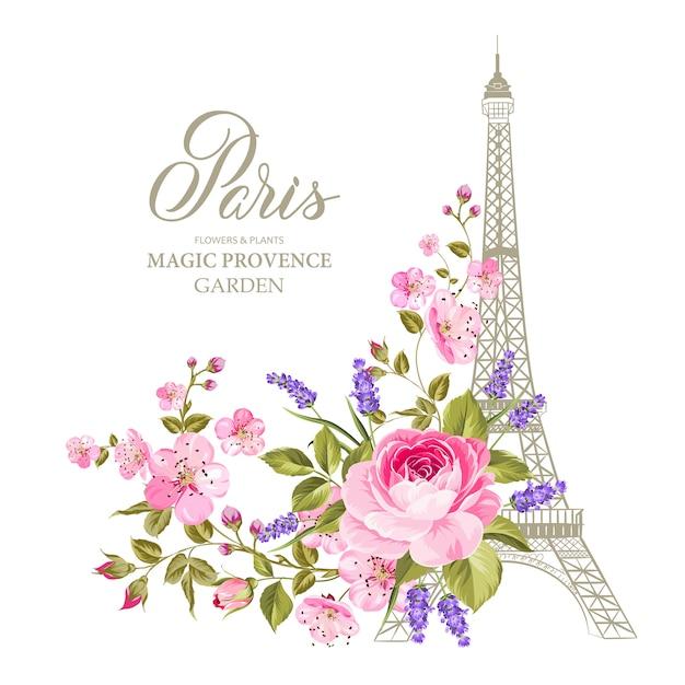 La Tarjeta De La Torre Eiffel Vector Premium