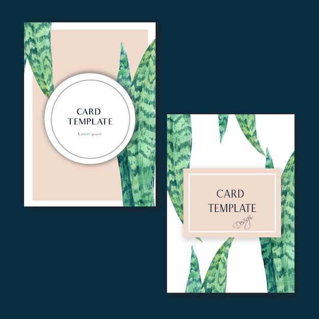 Tarjeta tropical de diseño invitato en verano con plantas follaje exótico. vector gratuito