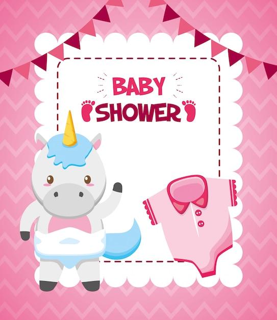 Tarjeta de unicornio y ropa para baby shower vector gratuito
