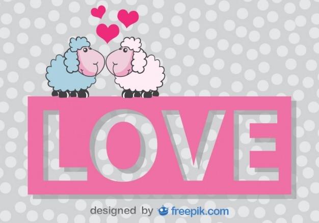 San Valentin Dibujos En Color: Tarjeta Vector De San Valentín De Ovejas De Dibujos