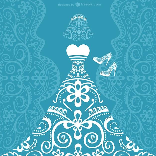 tarjeta de vector de vestido de novia | descargar vectores gratis