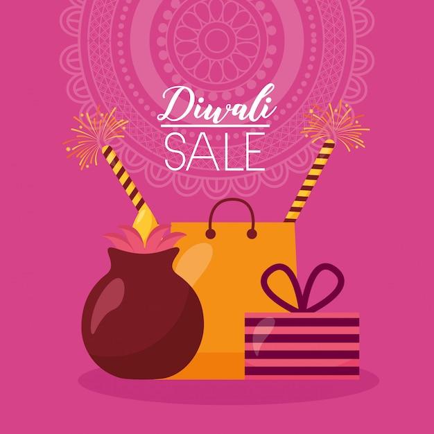 Tarjeta de venta de diwali con bolsa de compras y velas vector gratuito
