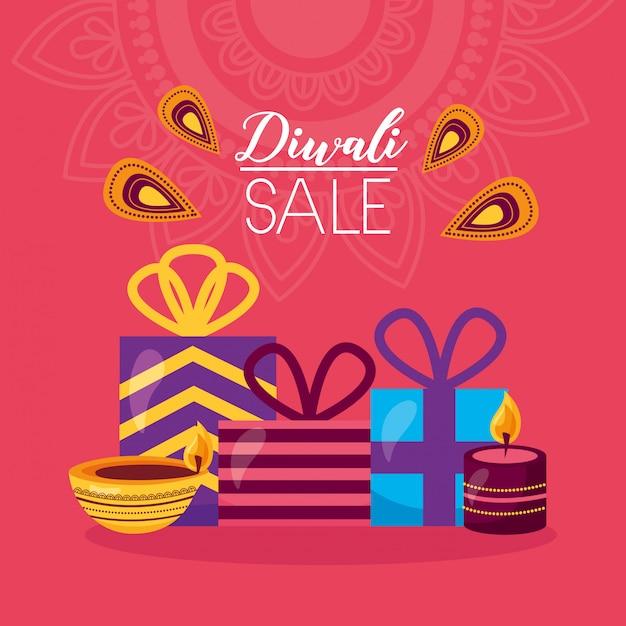Tarjeta de venta de diwali con celebración de regalos vector gratuito