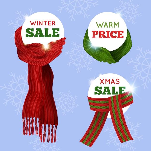 Tarjeta de venta de publicidad de diferentes bufandas tejidas sobre fondo transparente azul claro vector gratuito